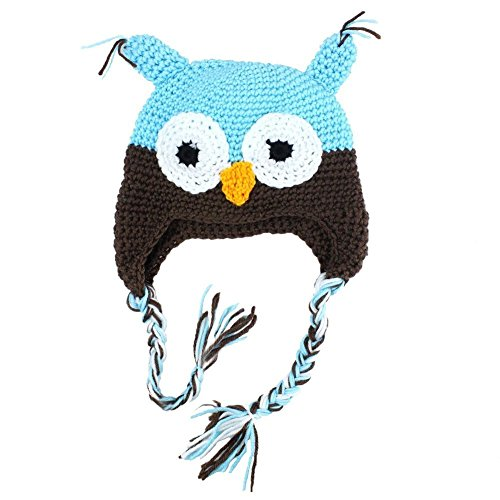 Nsstar Cool Cute Owl Handmade Newborn Baby Girls Boys Toddler Crochet Knitting Earflap Beanie Hat Photograph Photo Prop Costume With 1Pcs Free Cup Mat Color Ramdon (Blue And Coffee)