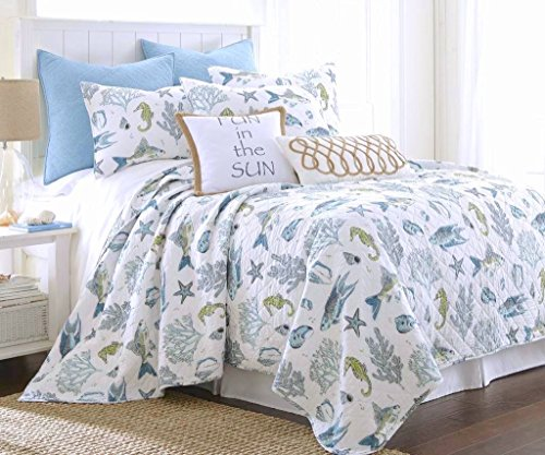 Byron-Bay-Exotic-Seaglass-Colorful-Blues-and-Green-Tropical-Fish-Island-Seashells-Coastal-Ocean-Life-on-White-Quilt-Set-with-Matching-Shams-King