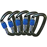 Big Wall Traverse - 25kn Aluminum Screwgate Locking Carabiners - Grey with Blue Screw Lock