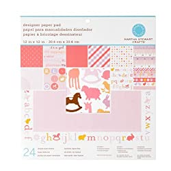 Martha Stewart Crafts Designer Paper Pad 12'' X 12'' Baby Girl By The Package