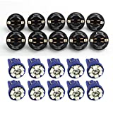 Partsam 10 Pack PC168 T10 Twist Lock Blue T10 168 Led Cluster Gauge Dash Light Bulb+ 10 Pcs Amber Mini bulb