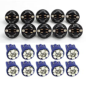 Partsam 10 Pack PC168 T10 Twist Lock Blue T10 168 Led Cluster Gauge Dash Light Bulb