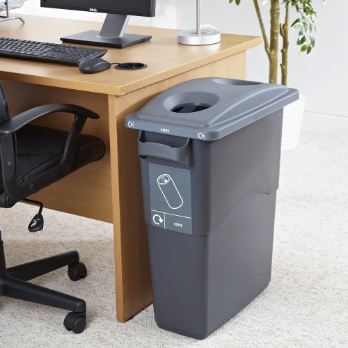 60l Litre Office Waste Recycle Bin with Grey Can Recycling Lid and Labels