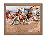 Russell Pistol Western Cowboy Horse Landscape Animal Home Decor Wall Picture Oak Framed Art Print