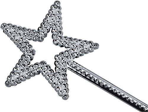 Star Power Shiny Princess Star Wand, Silver, One-Size