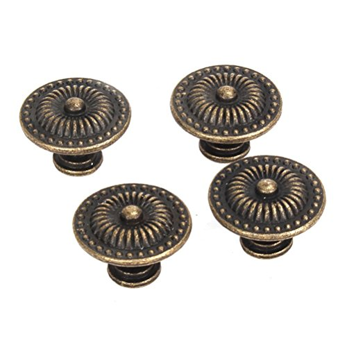 FENICAL Vintage Drawer Cabinet Knob Cupboard Pull Handle Knob 4pcs (Bronze) (Vintage Drawer Knobs And Pulls compare prices)