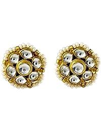Gehnamart Yellow Gold Plated Kundan Polki And Pearl Designer Stud Earring