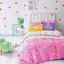 Auvoau Eiffel Tower Fashion Paris Themed Kids Girls Duvet Cover Bedding Sets, Full (Pink & White)