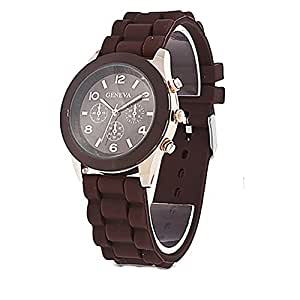 Unisex Geneva Silicone Jelly Gel Quartz Analog Sports Wrist Watch (Brown)
