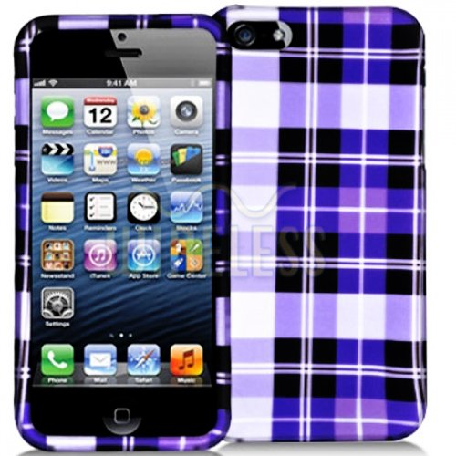 Mylife (Tm) Purple + White Plaid Series (2 Piece Snap On) Hardshell Plates Case For The Iphone 5/5S (5G) 5Th Generation Touch Phone (Clip Fitted Front And Back Solid Cover Case + Rubberized Tough Armor Skin + Lifetime Warranty + Sealed Inside Mylife Autho