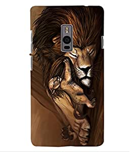 ColourCraft Lion and Cute Cub Design Back Case Cover for ONEPLUS TWO