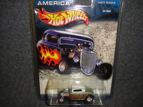 HOT WHEELS CRUISIN' AMERICA HOT RODS GREEN AND WITHE WITH FLAMES 1932 FORD DIE-CAST COLLECTIBLE