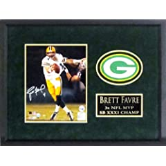 Brett Favre Autographed Green Bay Packers 8x10 Photograph Display with Patch Framed... by Sports Gallery Authenticated