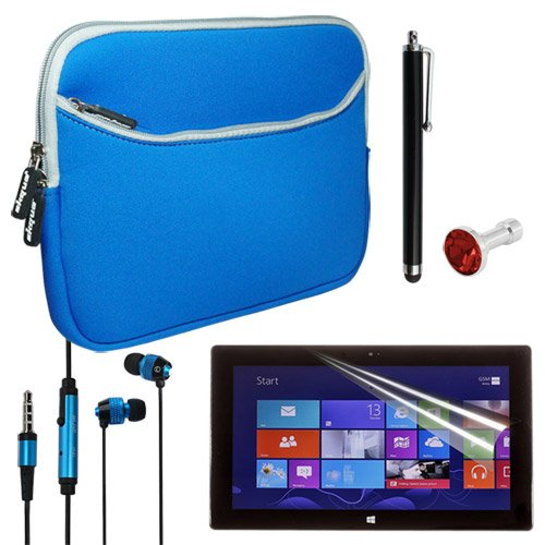 Skque Blue 10.2 Inch Premium Dual Pocket Carrying Case + Anti Scratch Screen Protector + Black Aluminum Capacitive Stylus Pen + Blue/Black 3.5Mm In Ear Headset With Button And Microphone + Red Crystal 3.5Mm Dustproof Headphone Plug For Microsoft Surface R