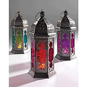 Moroccan Style Glass Lamp Lantern, Coloured Glass and Iron, Fairly Traded, in shades of Orange and Red