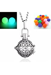 Yaoding 1pcs Ball Locket Glow in the Dark Beads Necklace Pendant Fragrance Oil Aromatherapy Diffuser