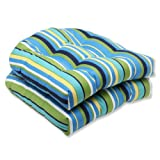 Pillow Perfect Outdoor Topanga Stripe Lagoon Wicker Seat Cushion, Set of 2