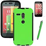 MOTO G case, EC™ Durable Full Body Protection Hybrid Case with Built-In Screen Protector for Motorola MOTO G (1st Generation Only) + Stylus Pen (Green)