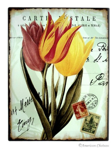 Vintage French Postcard Tulips Metal Wall Sign