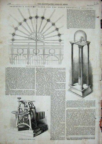 1851 Electric Clock Pendulum Mechanism Hands Face Print