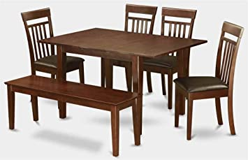 6-Pc Wooden Dining Set in Mahogany Finish