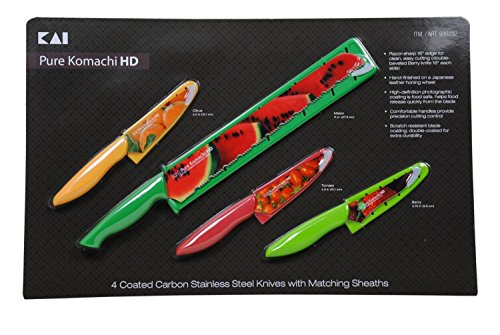 Pure Komachi HD 4 Coated Carbon Stainless Steel Knives with Matching Sheaths (Melon, Citrus, Tomato, and Berry)
