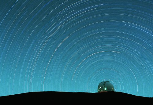 Star Trails Over Telescope Dome On Mauna Kea Wall Decal - 30 Inches W X 21 Inches H - Peel And Stick Removable Graphic