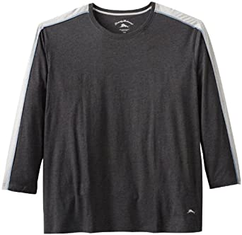 Tommy Bahama Men's Big-Tall Long Sleeve Cotton Modal Jersey Top (XXXX-Large Tall, Black)