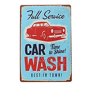 YESURPRISE Europen Vintage Style Metal Advertising Wall Sign Retro Art 20*30cm Car Wash by Yesurprise.co.ltd