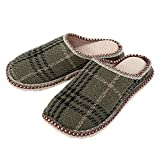 日本製 メンズ 高反発 外縫い ルーム シューズ スリッパ スエード底 立体ラスト(靴型) (商品:F(ウール調格子))