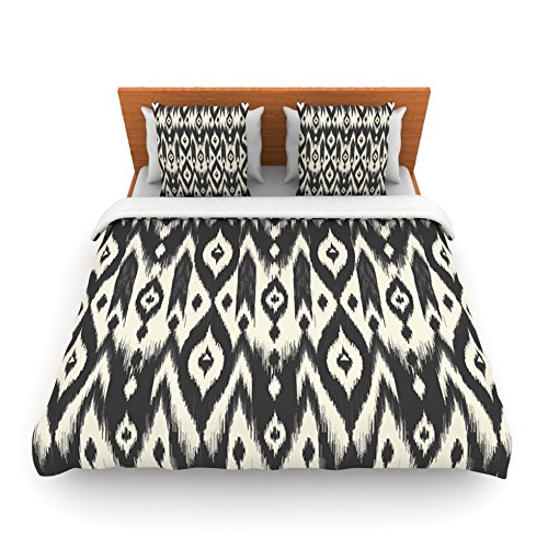 "Kess Inhouse Amanda Lane ""Black Cream Tribal Ikat"" Tan Dark Twin Fleece Duvet Cover, 68 By 88-Inch front-959463"