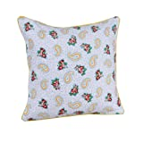 Homescapes - 100% Cotton - Paisley & Dots - Filled Large Cushion - 60 x 60 cm Square - 24 x 24 Inches - Yellow White Grey - 100% Cotton - Cover Well Filled Pad - Washableby Homescapes