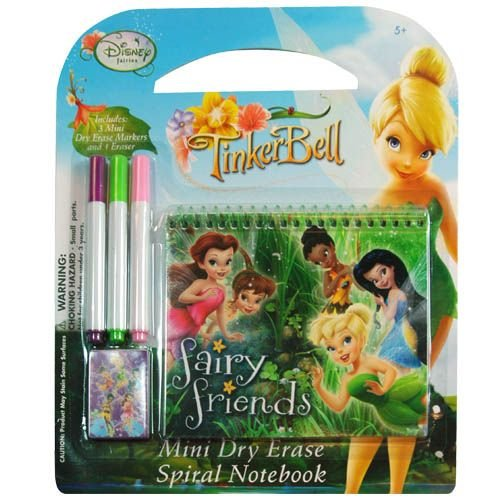 Disney Fairies Tinkerbell 5 Piece Personalized Study Kit/stationery Set, School Supplies with 1 Dry Erase Note Pad, 3 Wipe-off Markers, 1 Wipe Off Cloth