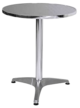 table ronde bistrot en aluminium et inox large choix. Black Bedroom Furniture Sets. Home Design Ideas