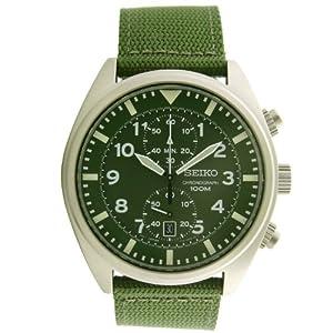 Seiko Men's SNN239P1 Chronograph Military Green Strap Watch by Seiko