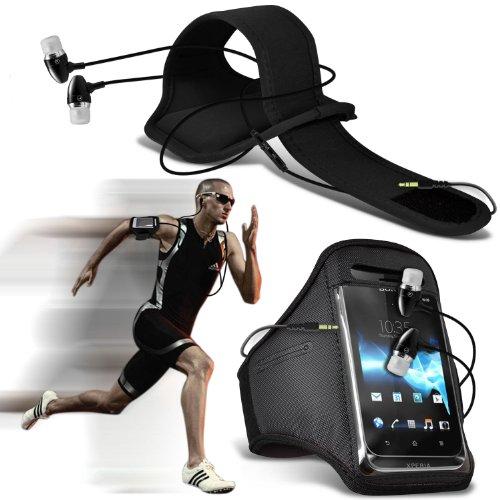 ( Black ) Nokia Lumia 1020 Sports corsa Jogging Sbarazzamento Bike Cycling Gym fascia di braccio del sacchetto di caso della copertura e della qualità in alluminio Premium In Auricolare Stereo Mani libero cuffia cuffia auricolare con il microfono incorporato Mic & On-Off Button By ONX3