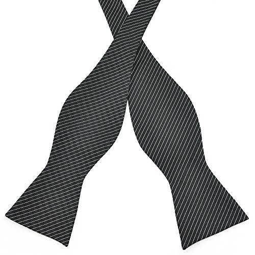 Pensee Mens Self Bow Tie Black & Silver Stripe Woven Silk Bow Ties