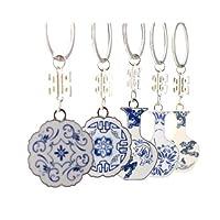 【青花】モチーフ キーホルダー 明の時代の伝統的なデザイン(全5種類)