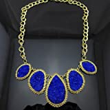 2012 New Arrival Unique Attractive Exquisite Gold Plated Chunky Choker Bib Statement Fashion Necklaces for Women LJ001 (blue)