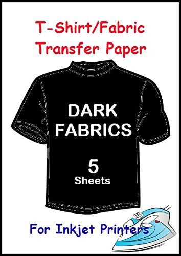5, formato A4, per stampanti a getto d'inchiostro, Heat Press Iron On-Transfer Paper tessuto scuro