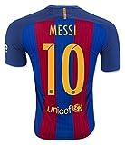 子供用 バルセロナホーム・半袖 サッカーレプリカユニフォーム(シャツ,パンツセット)・Messi 10番 メッシ, Neymar 11番 ネイマール , Suarez 9番 スアレス (身長135cm 前後, Messi 10番 メッシ)