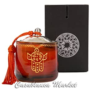 Moroccan Khamsa Jar Candle Color: Orange
