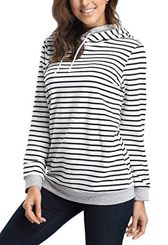 Fanshou-Women-Long-Sleeve-Striped-Hoodie-Side-Zipper-Hooded-Sweatshirt-Pullover