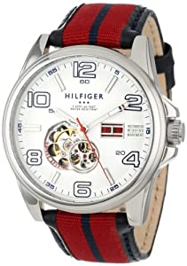Tommy Hilfiger Men's 1790926 Stainless Steel and Grosgrain Leather Strap Sport Watch