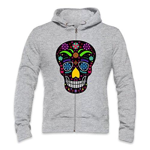 Sugar Skull Black Mens Zipper Hoodie Xx-Large