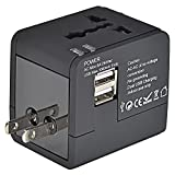 Mudder® US UK EU AU Universal All In One International Travel Power Plug Adapter Charger With 2 Port 1A USB for Cell Phone Black