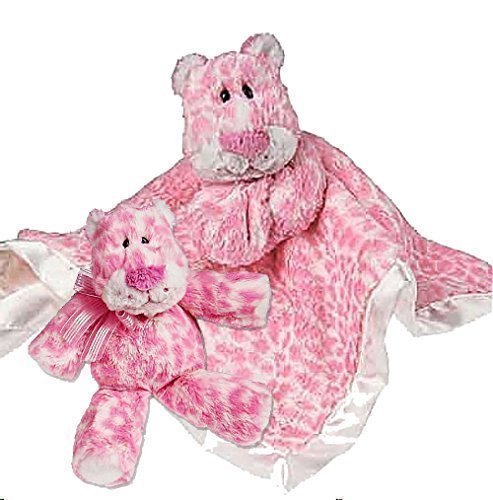 Set of 2  Baby Security Blanket with Matching Soft Plush Baby Rattle, Pink Leopard by Mary Meyer - 1