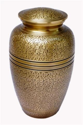 Cremation Ashes Urn Brass Engraved  FREE SHIPPING