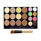 DE'LANCI 20 Colors Cream Concealer Contour Kit Complete Coverage Camouflage Concealer Makeup Palette Highlighting and Contouring Kit with Make Up Brush Tool (20 Color)