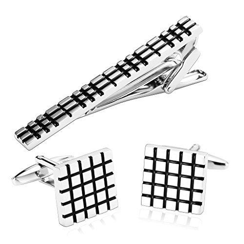 gnzoe-stainless-steel-carved-box-pattern-silver-black-tie-clip-cufflink-set-for-men